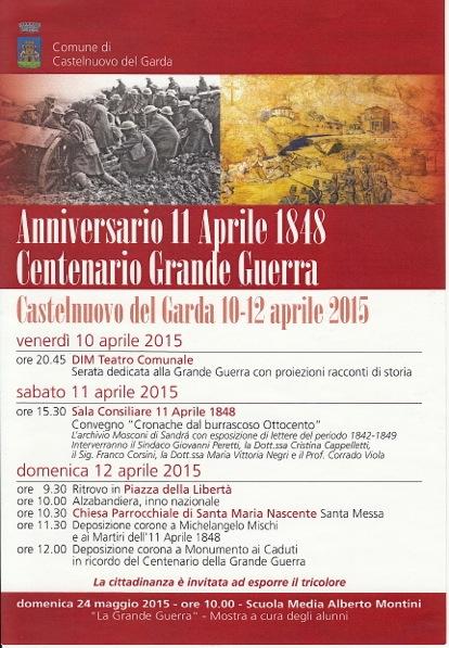 Anniversario 11 Aprile 1848 Centanario Grande Guerra