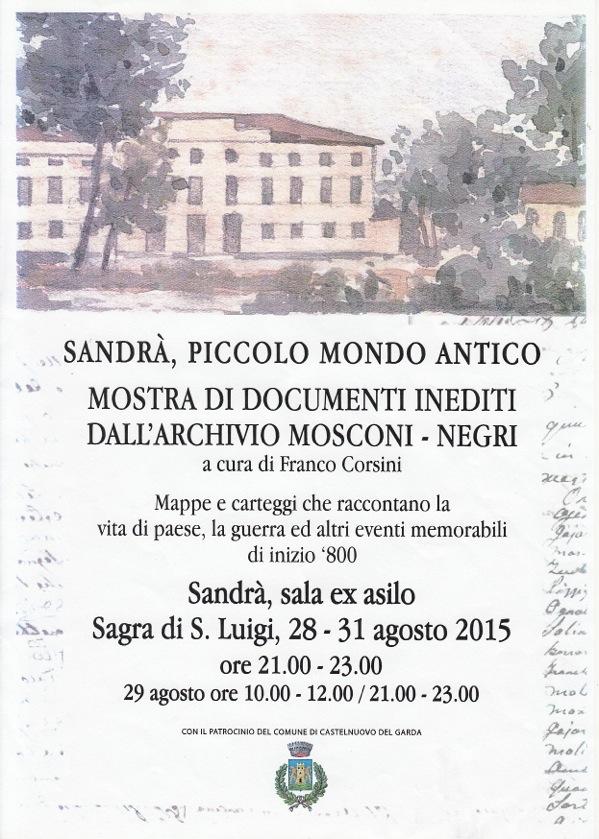 Sandrà Piccolo mondo antico mostra documenti inediti dall'archivio Mosconi Negri